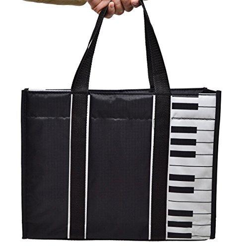 Sac de musique noir forme cabas décor clavier de piano