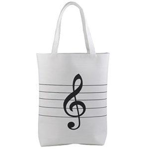 Sac de musique blanc forme cabas motif musical clé de sol sur partition de musique
