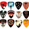 12 médiators au design de 12 célèbres pochettes d'album Guitar Picks médiators