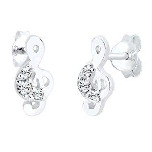 Boucles d'oreilles argent femmes Clé de sol - Elli
