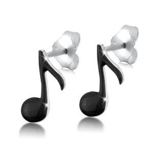 Boucles d'oreilles argent femme Note de musique