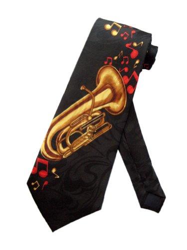 Cravate musique jazz Tuba sur fond noir- Steven Harris