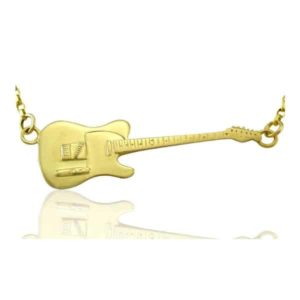Collier guitare électrique Fender Telecaster Rick Parfitt tribute en or massif