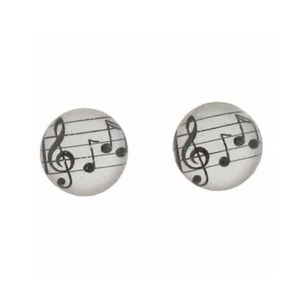 boucles d'oreille en résine motif partition de musique